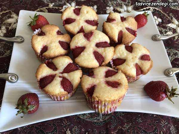 کاپ کیک توت فرنگی