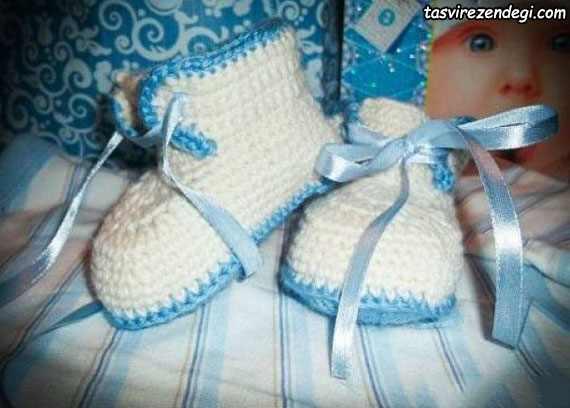 آموزش بافت کفش نوزاد پسرانه قلاب بافی