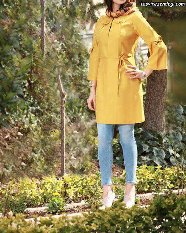مدل مانتو تابستانی کوتاه زرد