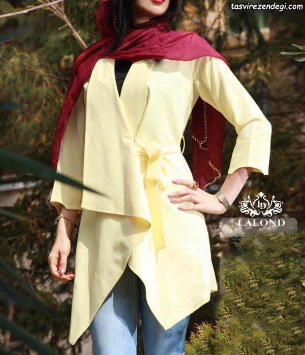 مدل مانتو تابستانی زرد کمربنددار دخترانه
