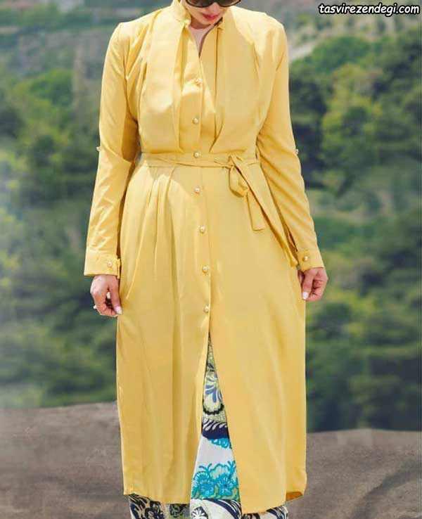 مدل مانتو تابستانی 97 دخترانه زرد کمربند دار