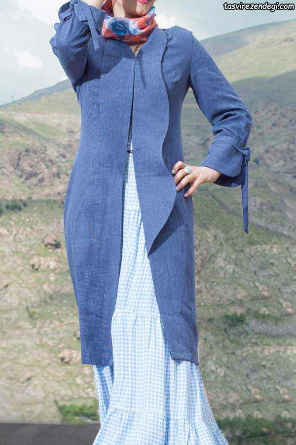 مدل مانتو تابستانه دخترانه آبی بدون دکمه 2018