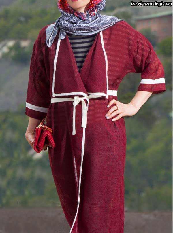 مدل مانتو تابستانه دخترانه زرشکی با نوار سفید 97