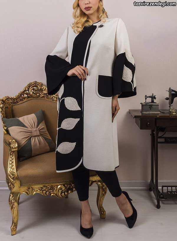 مدل مانتو مجلسی شیک سفید و مشکی