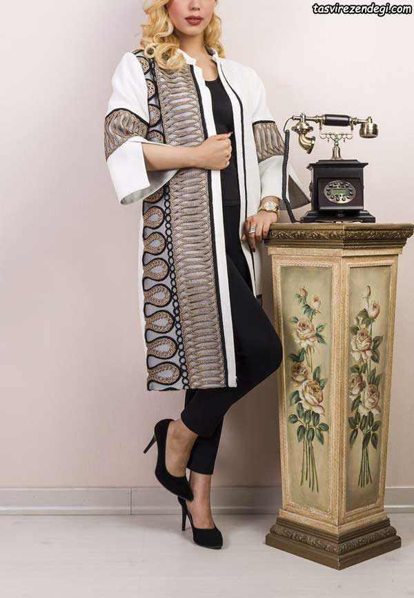 مدلهای جدید مانتو مجلسی دو رنگ گیپور