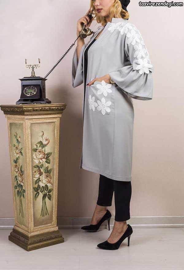 مدل مانتو مجلسی دو رنگ کیمونو جلو باز