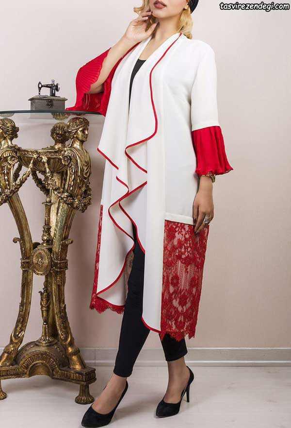 مدل مانتو مجلسی سفید و گیپور قرمز