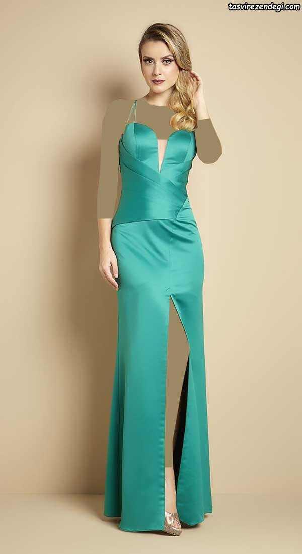 مدل لباس مجلسی ساتن بلند