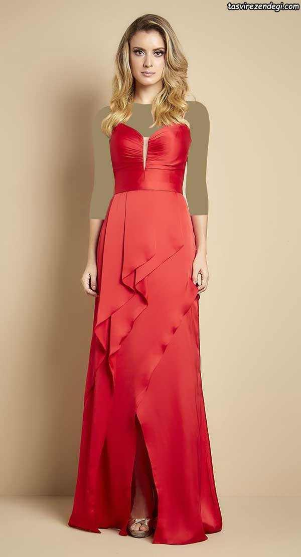 مدل لباس مجلسی ابریشمی قرمز