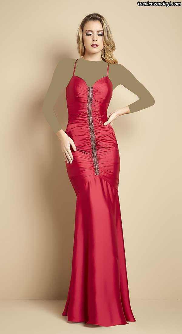 مدل لباس مجلسی بلند قرمز