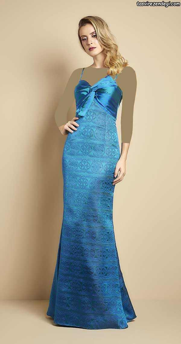 مدل لباس مجلسی ابریشمی دکلته آبی