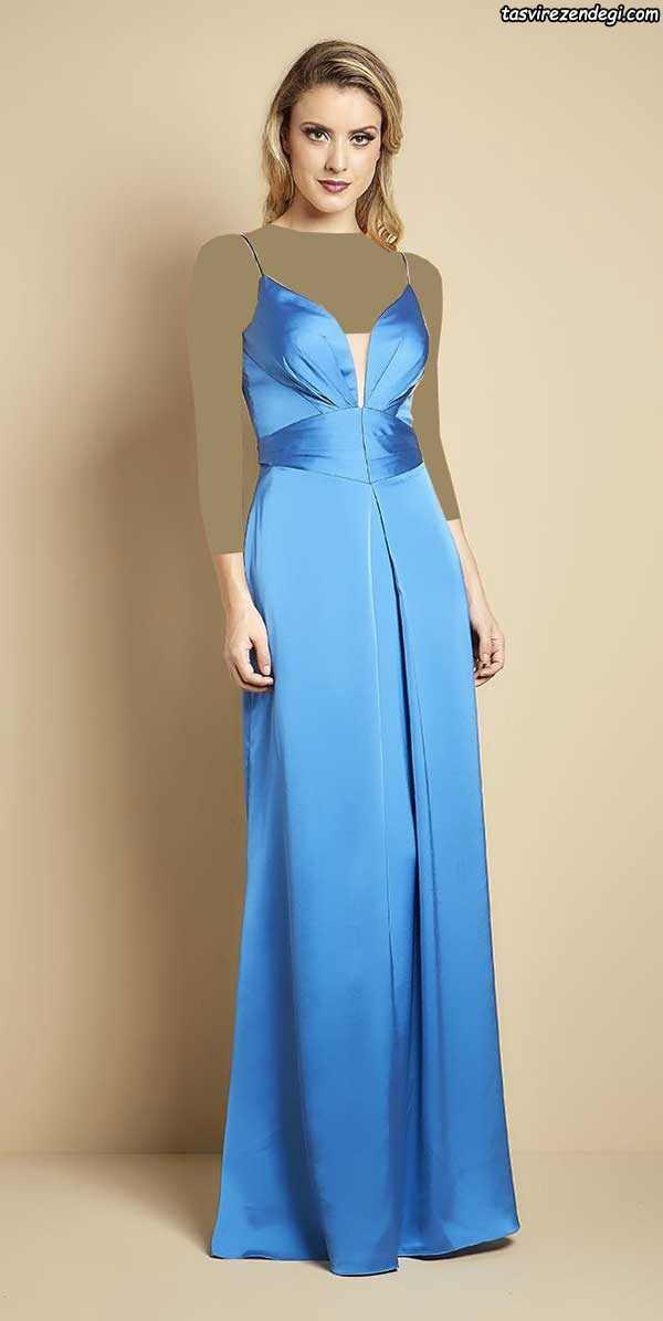مدل لباس مجلسی بلند شیک آبی