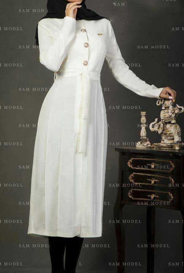 مدل مانتو تابستانه بلند شیری رنگ