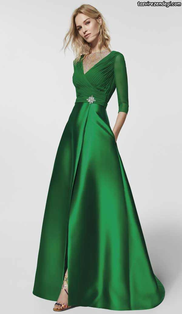لباس مجلسی آستین بلند سبز ساتن
