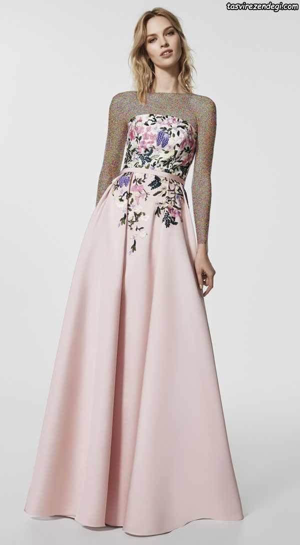 مدل لباس مجلسی دکلته گلدوزی شده