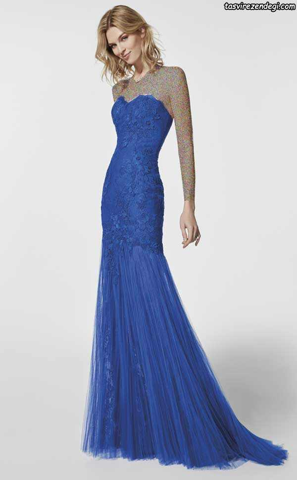 مدل لباس شب دکلته شیک آبی کاربنی