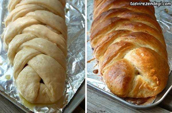 پیچیدن خمیر نان زردآلو