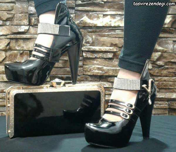 کفش مجلسی زنانه مشکی پاشنه 10 سانت