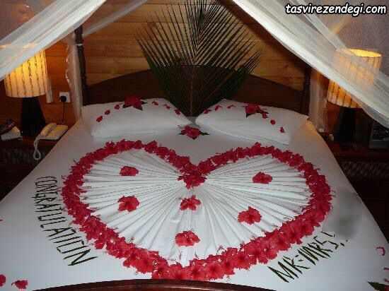 تزیین تخت عروس داماد با گل , تزیین حوله عروس