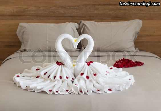 تزیین تخت عروس با گل , تزیین حوله عروس