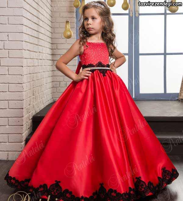 لباس مجلسی بچگانه دخترانه قرمز