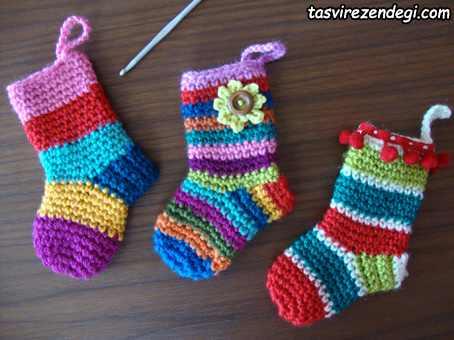 آموزش بافت جوراب نوزاد قلاب بافی