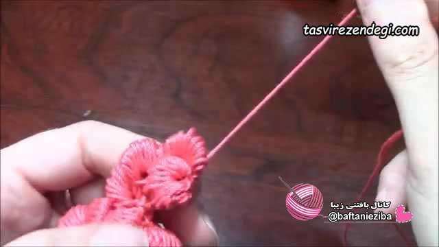آموزش بافت گل برجسته با قلاب, گره کلونی