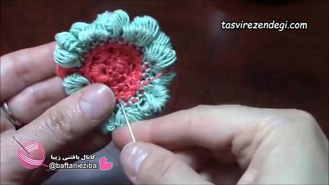 آموزش بافت گل برجسته با گره کلونی