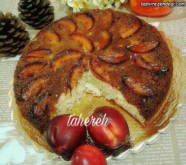 کیک برگردان شلیل , کیک وارونه , کیک آپساید داون,upside down cake