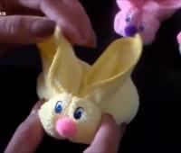 تزیین حوله نوزاد به شکل خرگوش