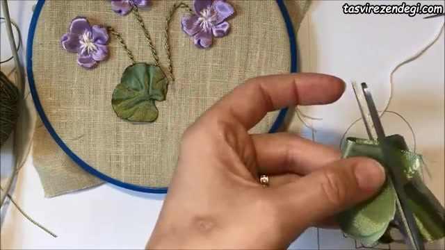 آموزش روبان دوزی, آموزش دوخت شاخه گل
