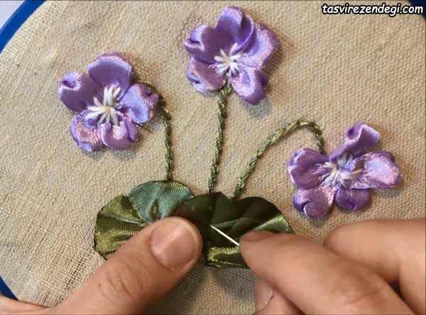 آموزش تصویری روبان دوزی, دوخت شاخه گل