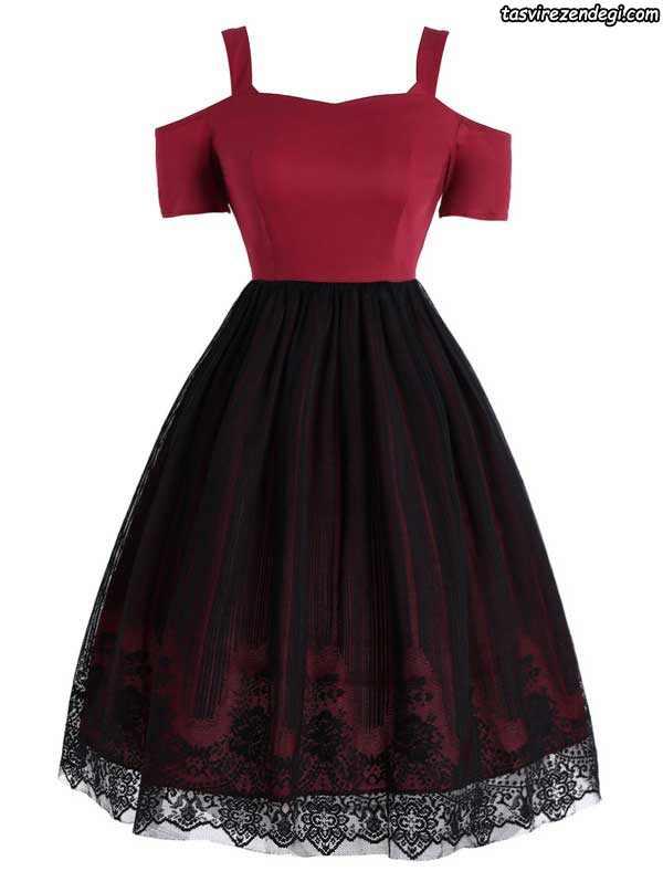 مدل لباس مجلسی مشکی و قرمز