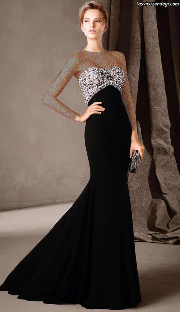مدل لباس دکلته مجلسی کار شده