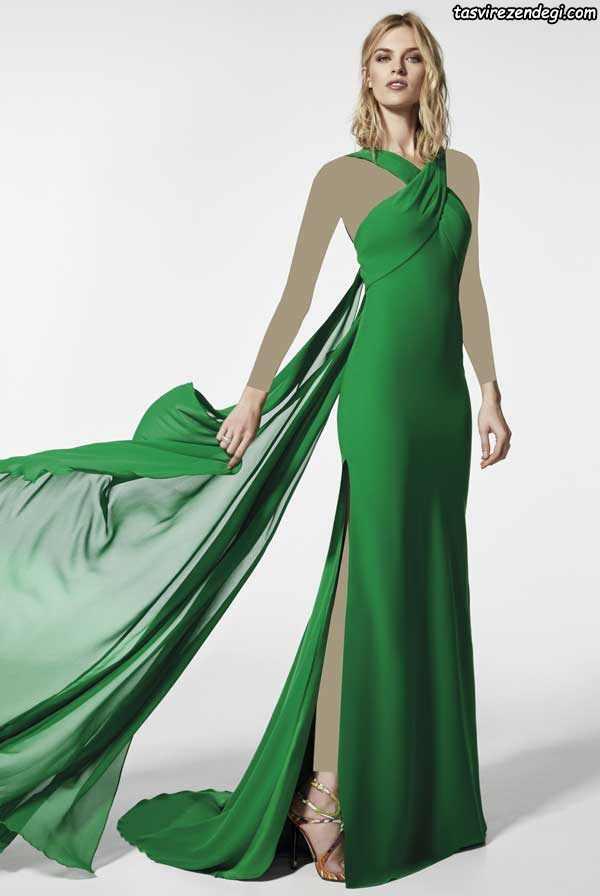مدل لباس حریر مجلسی سبز بند گردنی