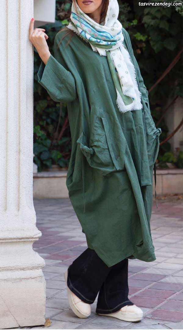 مانتو کیمونو بلند نخی سبز گشاد