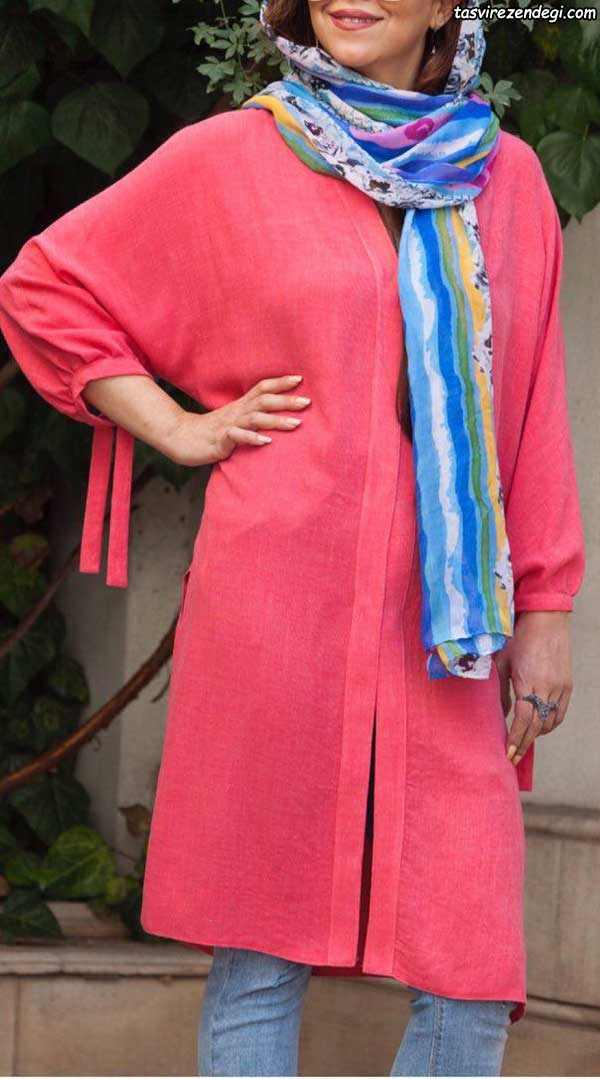 مدل مانتو نخی تابستانه رنگ شاد