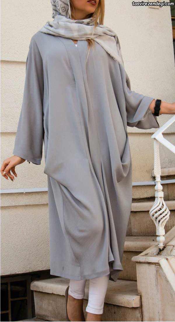 مدل مانتو کیمونو طوسی بلند ویسکوز , مانتو بهاره دخترانه