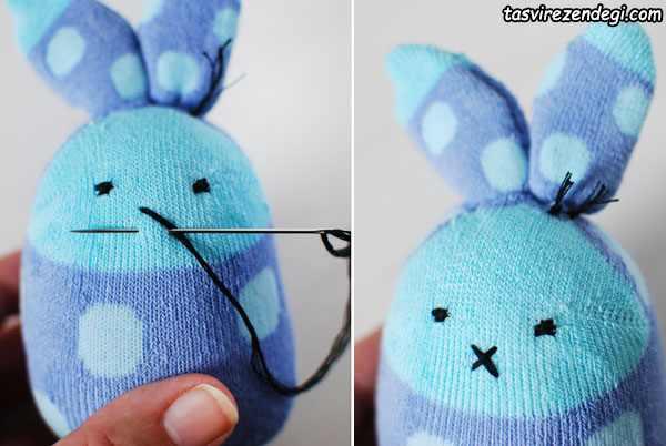 آموزش دوخت عروسک خرگوش با جوراب