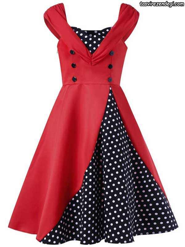 مدل لباس مجلسی قرمز و مشکی دخترانه