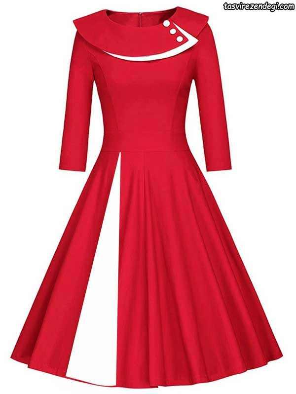 لباس مجلسی قرمز و سفید