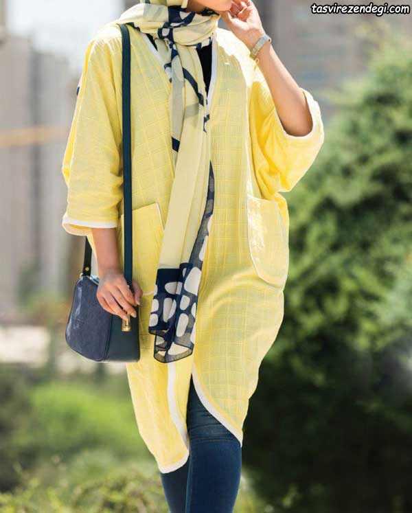 مدل مانتو تابستانه نخی کیمونو زرد رنگ