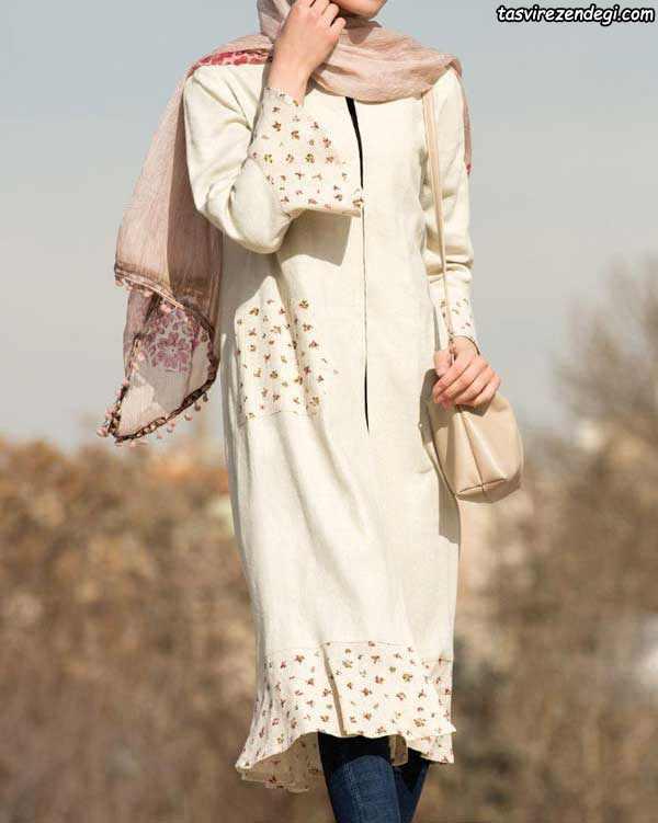 مدل مانتو تابستانه شیری رنگ با برشهای پارچه گلدار