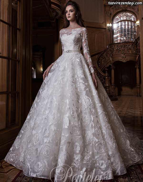 مدل لباس عروس پوشیده آستین دار