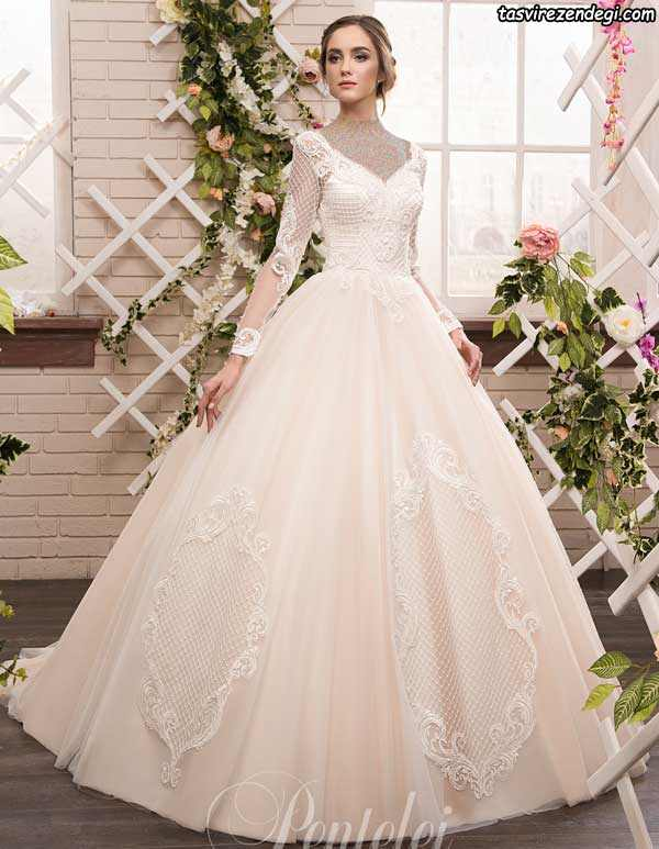مدل لباس عروس آستین دار پوشیده