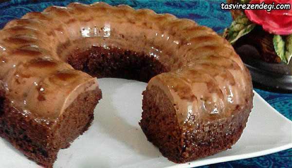 کیک کرم کارامل شکلاتی