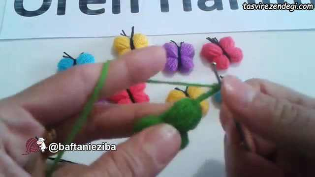 آموزش بافت پروانه قلاب بافی