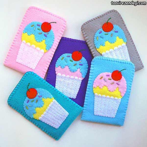 کیف موبایل نمدی طرح بستنی قیفی