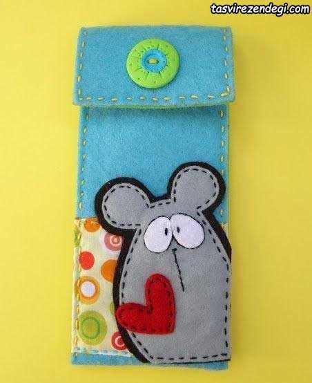 کیف موبایل نمدی طرح موش