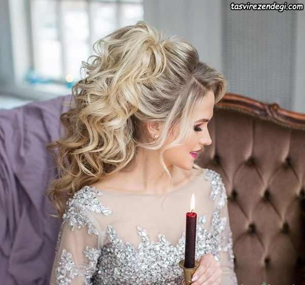 مدل شینیون باز شلوغ عروس